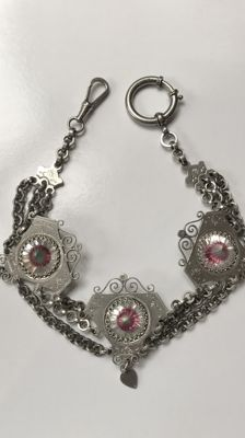 Watch necklace/chatelaine, around 1930, with illusive crystals, Germany