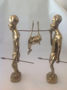 African Hunters with Catch - Heavy Copper, approx. 1960