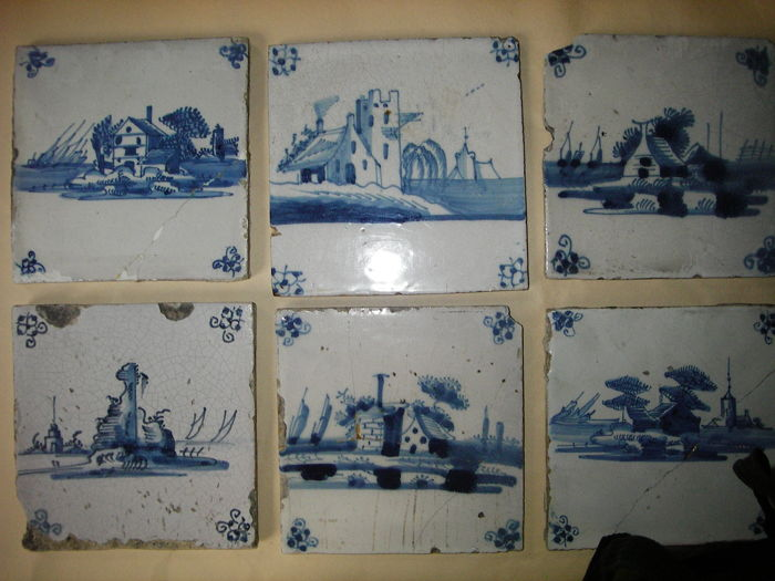 Lot with 33 antique tiles from the 17th and 18th century from The Netherlands and 2 tiles from Boch in Belgium