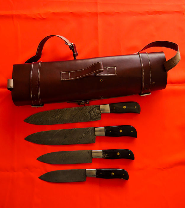Sahako damascus steel 4 pcs. knives set, leather bag..barely used, top!