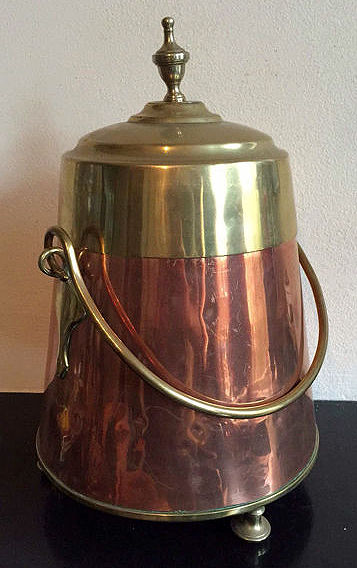 A beautiful copper furnace pot with handle; the Netherlands, circa 1900