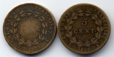 French Colonies - 5 Centimes 1829-A & 1830-A (lot of 2 coins) - Charles X - Bronze