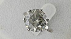 5.00 ct round diamond ring made of 14 kt white gold - size 6.5