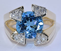 London blue Topaz and Diamonds ring - NO reserve price!