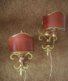 Set of Hollywood Regency Wall Lamps in ox red colour
