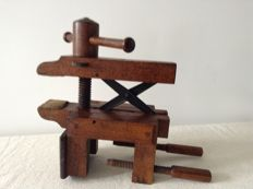 Antique wooden vise _ la Forge Royal-Paris _ circa 1900