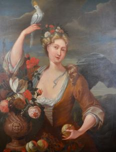 Continental School (18th century) - A portrait of a lady with bird of paradise, fruit and flowers