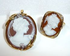 Cameo set made of 14 kt / 585 gold with diamond ring + pendant/brooch with hand-carved cameos