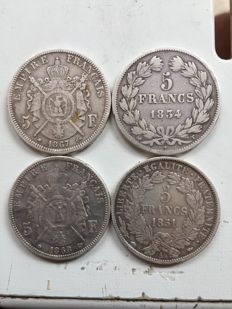 France – 5 Francs 1834 T, 1851 A, 1867 A & 1868 BB (lot of 4 coins) – Silver.
