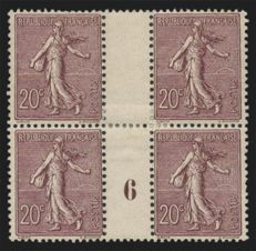France 1903 - Semeuse 20c brown-lilac - Block of 4 vintage 6 – Yvert no 131.