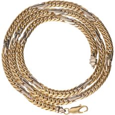 18k - Yellow gold gourmet chain with white gold pieces - Length: 50.5 cm