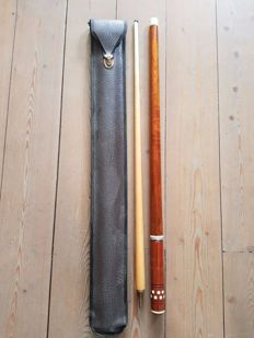 pool / billiard cue, has 2 parts, in leather case, second half of  20th century