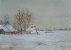 Anthony Everhardus Grolman (1843-1926) - Winterlandschap