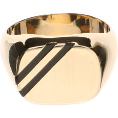 14 kt yellow gold signet ring set with onyx - Ring size:  20.25 mm