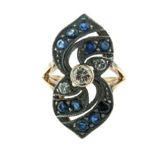 14 karat Art Deco gold and silver ring set with diamonds and sapphires