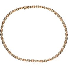 14 kt tricolour gold, fantasy link necklace - Length: 45 cm - Diameter of link: 6.7 mm