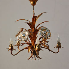 Unkown designer - Two-tone gold coloured tole chandelier
