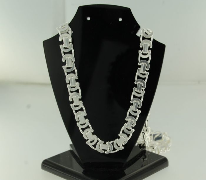 925 Silver flat Byzantine link necklace - 50 cm long