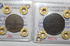 Kingdom of Sardinia, 5 and 3 Cent, 1842, Carlo Alberto (2 coins)