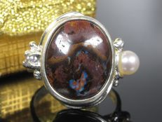 1970 ring with 12ct matrix boulder opal, pearl and tanzanite
