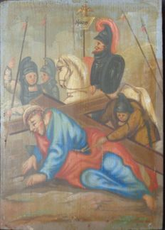 Unknown artist - old religious painting - the Way of the Cross, Jesus bearing his cross