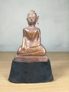 Gold sheathed on Lacquer Ayuthaya Sitting Buddha image - Thailand - late 17th/18th century