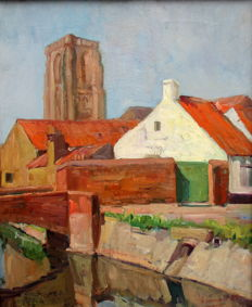 Emeri Vercruyssen ( 1906 - 1985 ) - village view, probably Damme