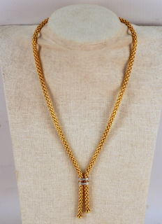 Fope - Vintage 18K Yellow Gold Necklace With Diamonds ( 0.10 CT Total ) Made By Fope, Italy, Circa.1970's - Length : 42.5 cm