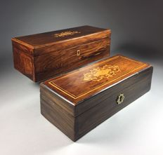 Two various rosewood gloves boxes with intarsia - France - 2nd half of the 19th century