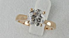 1.50 ct round diamond ring in 18 kt gold - size 7,5