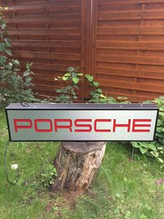 Large PORSCHE advertising lightbox banner garage item  - late 20th century