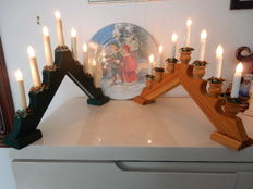 2 beautiful wooden candlesticks with lights and decorative plate for Christmas