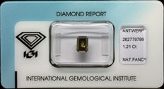 1.210 ct IGI Natural Fancy Dark Yellowish Green(OLIVE) Diamond – NO RESERVE