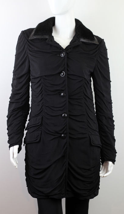 Versace - Stunning Classic Black Ruched Coat