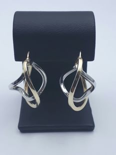14 Ct Gold Earrings, 585 (14 Ct) Yellow and White Gold, Size: 26 mm, Weight: 2.75 g *** No Reserve ***