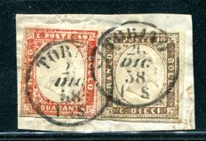Sardinia, 1858 - 10 cent, umber, and 40 cent, scarlet red on fragment. Sassone  Nos. 14 and 16A