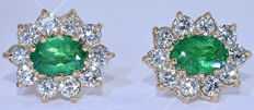 4.54 ct Emeralds and Diamonds earrings - NO reserve price!