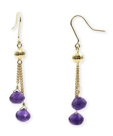 18 kt (.750) yellow gold - Long earrings - Faceted amethysts - Earring height: 56.20 mm