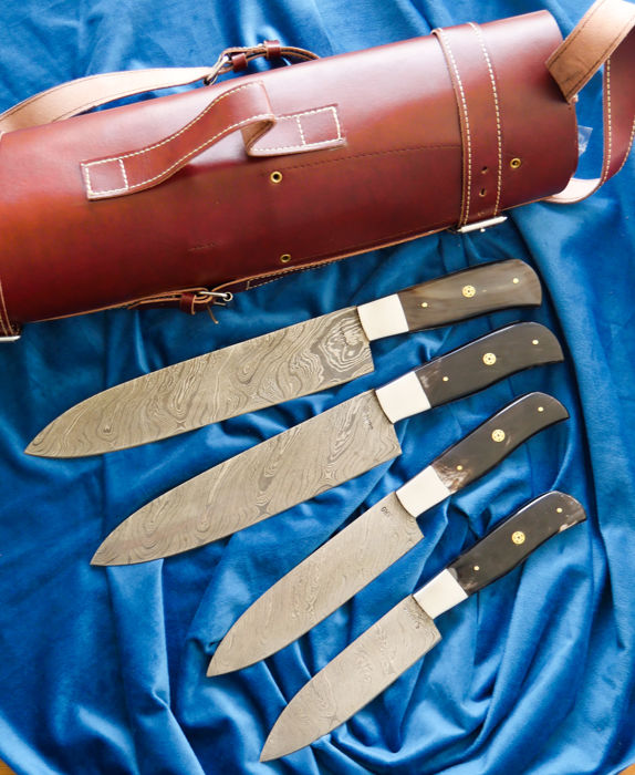 Sahako damascus steel Chef kitchen 4 pcs. bone handle knives set, leather roll/bag..