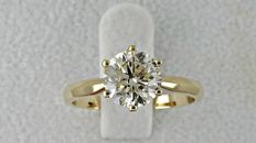 1.60 ct  VS2  round diamond ring made of 14 kt yellow gold - size 7