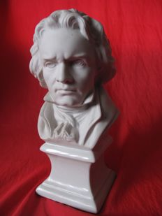 Rare, very beautiful footed biscuit porcelain of Limoges bust of Beethoven