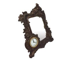 Mirror Frame made of zamac and with mechanical clock - Germany - Approx. 1950/1960