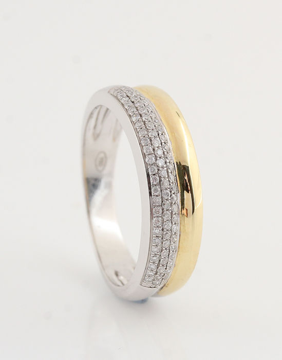 "14 kt white and yellow gold diamond ring is 0.21 ct/3.90 grams/Size 54/G-H/VVS2-VS2/""NEW"""
