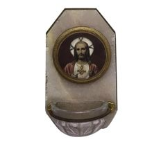 Antique French holy water font made of glass on a natural stone plaque with hand-coloured print - France - Ca. 1880