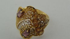 22 kt gold handmade ring with coloured stones - ring size 16.6 mm - weight: 2.29 g