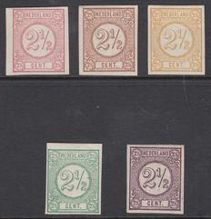 The Netherlands 1876 - Number, series imperforate colour proofs 2½ cents - PC102a/e