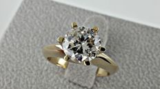 2.24 ct  SI1 round diamond ring made of 14 kt yellow gold - size 7