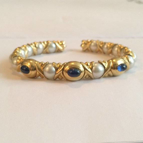 Vintage Cuff Bracelet Chantecler Capri Gem Set 18K Gold, Sapphires & Pearls Unique Design