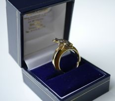 DADA Ring frog image 18 dark diamonds gold 18 karat - 18 mm