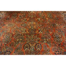 Beautiful antique hand-knotted Jugendstil Persian carpet American US Sarouk made in Iran 400x320 cm